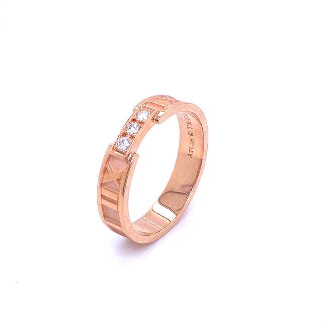 Tiffany & Co. (25349 M) Roman Alas Diamond 18k Rose Gold Numeral Band Ring Tiffany & Co. (25349 M) Roman Alas Diamond 18k Rose Gold Numeral Band Ring Image 1