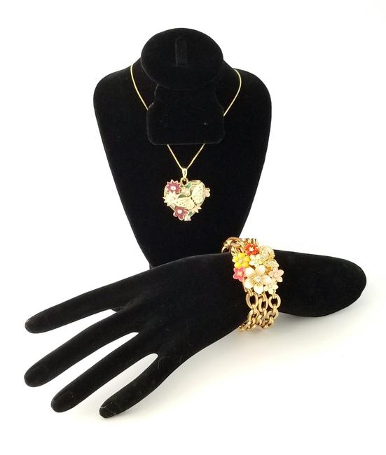 Item - Multicolor Enamel Butteryfly and Floral and Bracelet Set Necklace