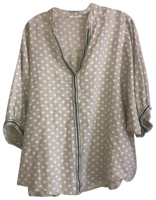 Item - Light Gray Dotted and Embroidered Full Sleeves Tunic Size 10 (M)