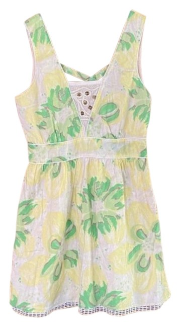 Item - Green Yellow Vintage Mid-length Cocktail Dress Size 12 (L)