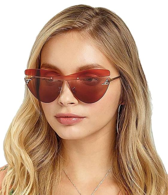 Item - Brown / Red 0400s Mgtha Karligraphy Cat Eye Sunglasses