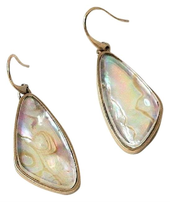Item - White/Vintage Gold Mckenna Abalone Drop Earrings
