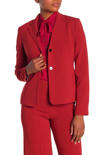 Item - Red Woven Notch Lapel Back Vents Blazer Size 6 (S)