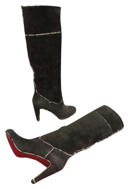Item - Grey Suede Tall Trimmed In Snakeskin Boots/Booties Size EU 36.5 (Approx. US 6.5) Regular (M, B)