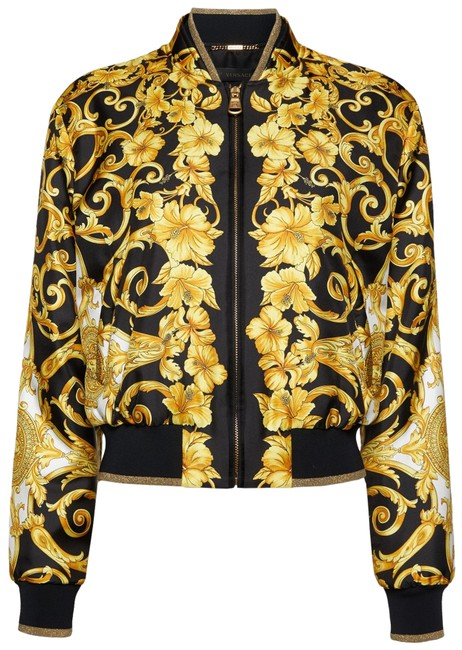 Item - Gold Hibiscus Silk Twill Bomber In A7008 Jacket Size 4 (S)