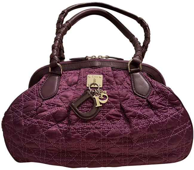 Item - Cannage Charms Quilted Purple Satin and Leather Satchel