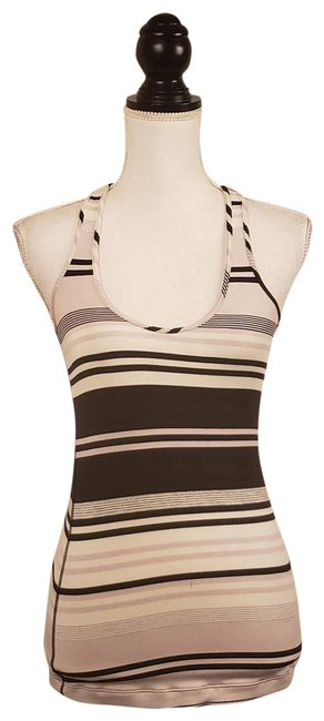 """Item - Black White Striped Athletica """"Cool Racerback Groovy Activewear Top Size 6 (S)"""