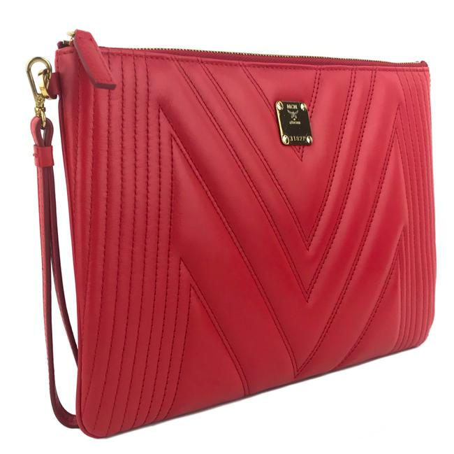 Item - New Medium Quilted Pouch Red Leather Wristlet