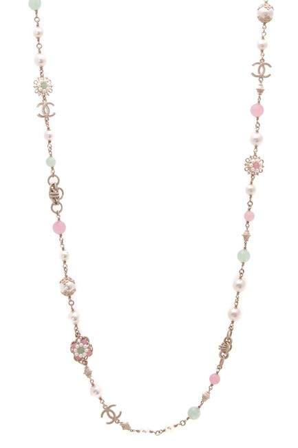 Chanel Gold Faux Pearl & Beads Camellia Long Necklace Chanel Gold Faux Pearl & Beads Camellia Long Necklace Image 1