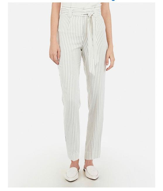 Item - White / Ivory Wide Stripe Pinstripe Nwot Waisted Tie Waist Ankle In Pants Size 12 (L, 32, 33)