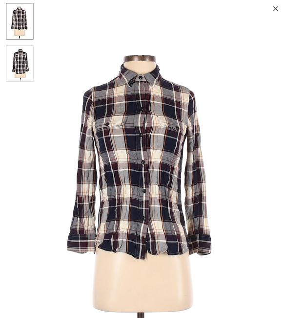 Item - Navy Blue Burgundy Marigold and Cream Plaid Collared Long Sleeve Shirt Button-down Top Size 00 (XXS)