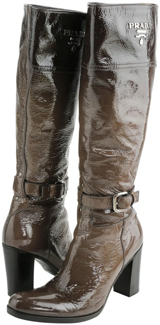 Item - Brown Knee High Shiny Leather Boots/Booties Size EU 36 (Approx. US 6) Regular (M, B)