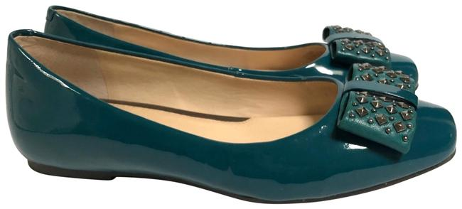 Item - Teal Green Studded Bow Flats Size US 8.5 Regular (M, B)