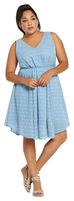 Item - Blue Textured Chiffon Short Casual Dress Size 16 (XL, Plus 0x)