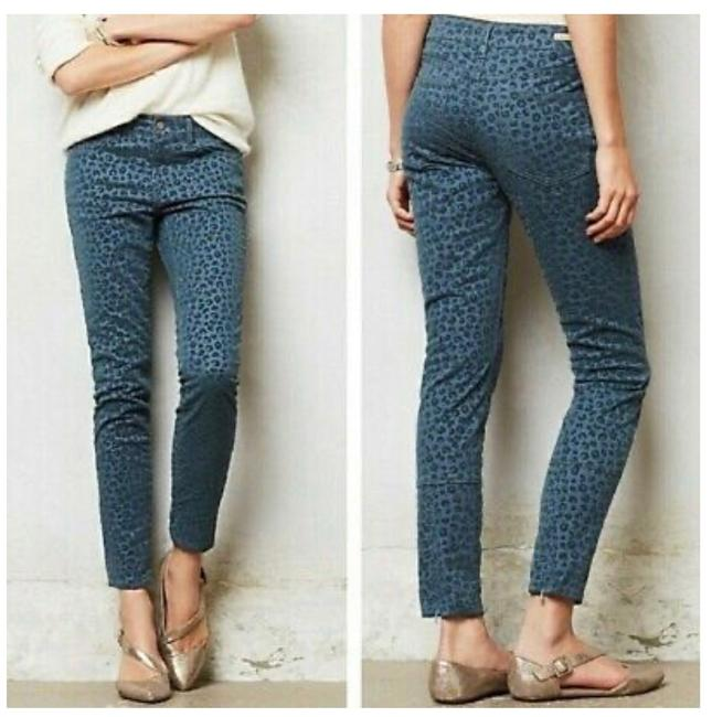 Item - Pilcro and The Letterpress Blue Anthropologie Stet Fit Leopard Print Skinny Jeans Size 6 (S, 28)