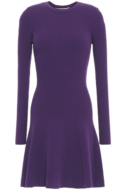 Item - Purple Fluted Ribbed Knit Stretch Bodycon Sweater Long Sleeve Mini Short Casual Dress Size 8 (M)
