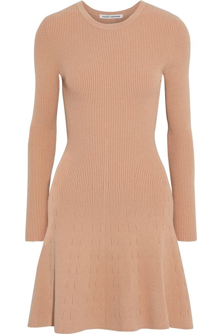 Item - Sand Fluted Ribbed Knit Stretch Bodycon Sweater Long Sleeve Mini Short Casual Dress Size 8 (M)