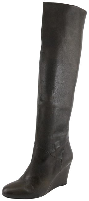 Item - Grey Linear Fumo Leather Knee High Wedge Boots/Booties Size US 7.5 Regular (M, B)