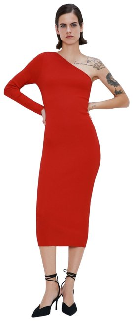 Item - Red One Shoulder Mid-length Night Out Dress Size 4 (S)