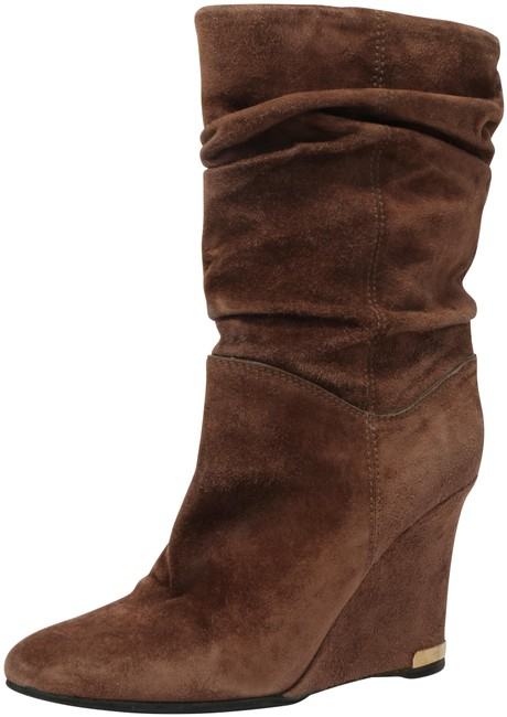 Item - Brown Suede Ruched Wedge Boots/Booties Size EU 38 (Approx. US 8) Regular (M, B)