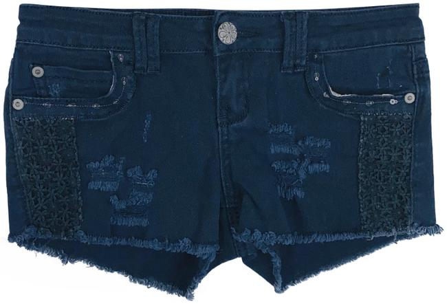 Item - Blue Embroidered & Sequined Jean Shorts Size 0 (XS, 25)