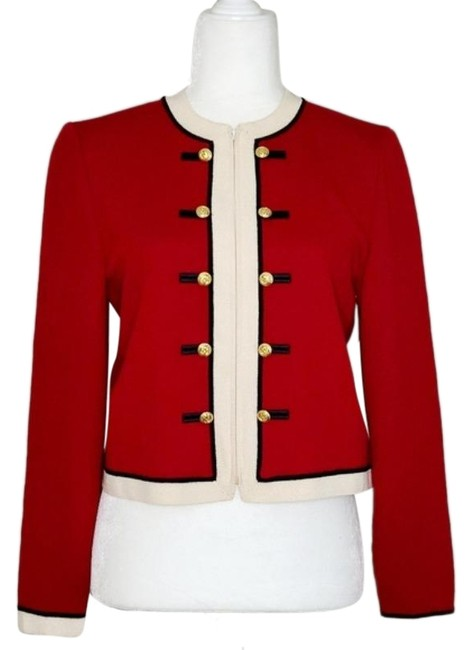 Item - Red Gold Knit Buttoned Zip Jacket Size 4 (S)