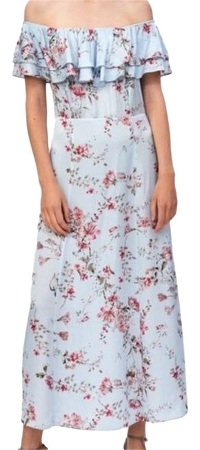 Item - Pink Blue Ruffled Off Shoulder Floral Medium 3198/241/400 Long Casual Maxi Dress Size 8 (M)