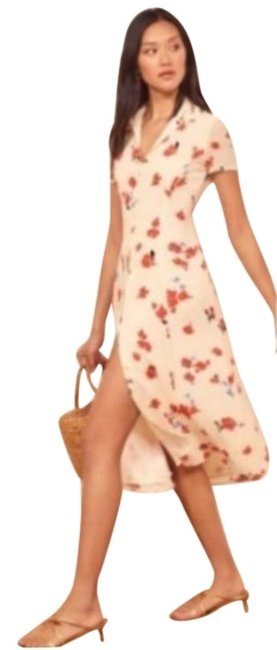 Item - Red Cream White Sheila Midi In Chagall Floral Mid-length Casual Maxi Dress Size 0 (XS)