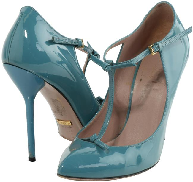 Item - Blue Lacquered T-strap Pumps Sandals Size US 5.5 Narrow (Aa, N)