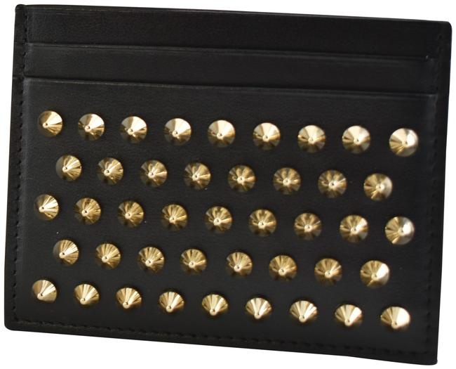 Item - Black W Kios Calf Leather Gold Spike Business Credit Card Holder Wallet