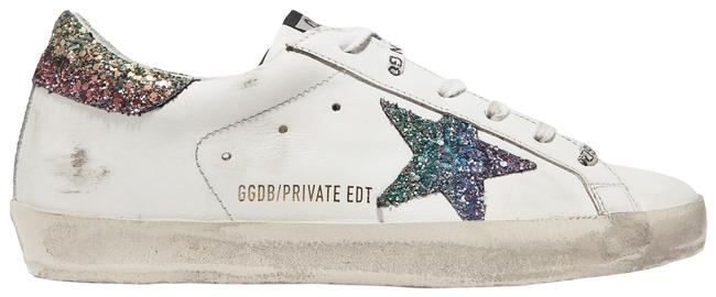 Item - White Superstar Glittered Distressed Leather Sneakers Size EU 41 (Approx. US 11) Regular (M, B)