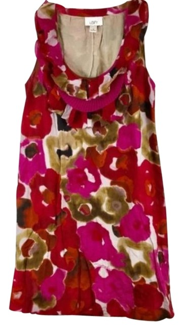 Item - White Pink Red And Floral Short Sleeve Mid-length Casual Maxi Dress Size 4 (S)