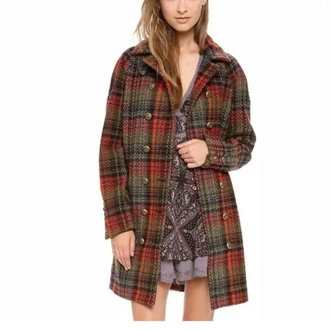 Item - Multi Color Wool Blend Red Green Black Plaid Double Breasted Jacket 0 Coat Size 0 (XS)