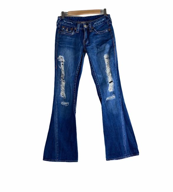 Item - Blue Distressed Joey Flare Leg Jeans Size 4 (S, 27)