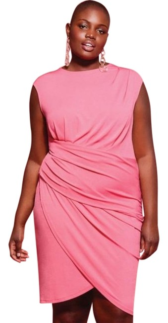 Item - Pink Draped Front Short Work/Office Dress Size 14 (L)
