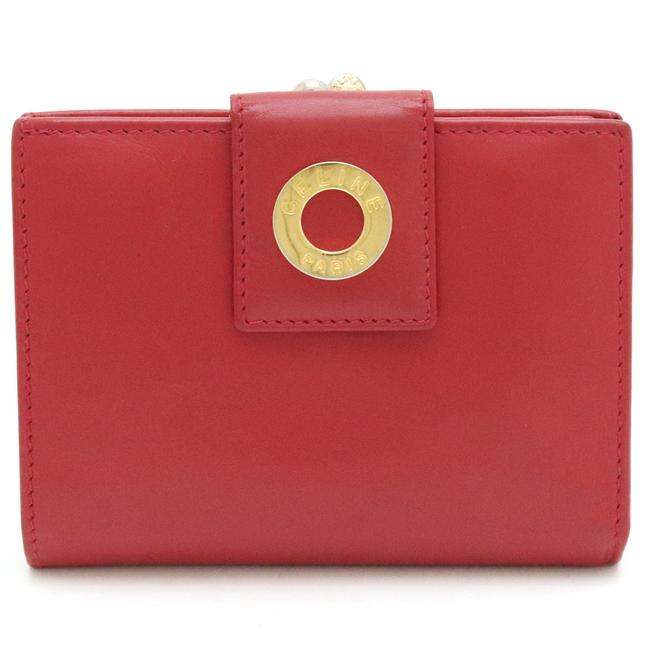 Item - Red Color Circle Logo Gamaguchi Bi-fold Leather Gold Metal Fittings Wallet
