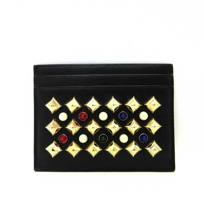 Item - Black Card Case Small Business Holder Studs Bijoux Faux Pearl Ladies Calf Leather Wallet
