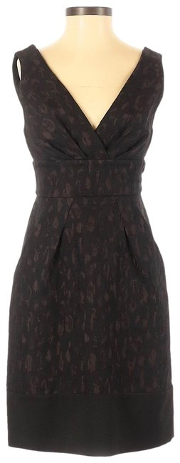 Item - Black and Brown Leopard Print Nwot Plunging V-neck A-line with Pockets Mid-length Cocktail Dress Size 0 (XS)