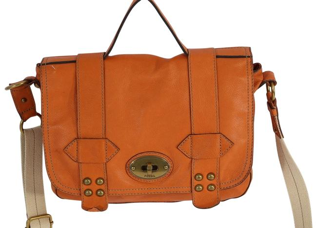 Item - Pebbled Push Lock Flap Orange Leather Shoulder Bag