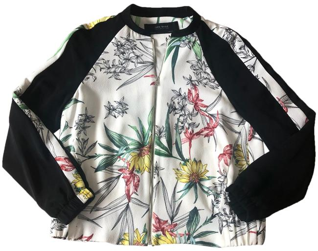 Item - White Multi Color Floral Bomber Jacket Size 8 (M)