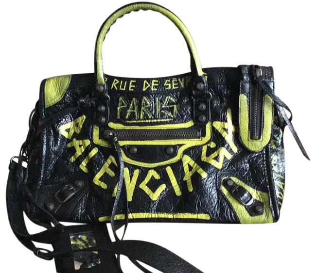 Item - City Details Black/Yellow Black with Yellow Graffiti Lambskin Leather Cross Body Bag