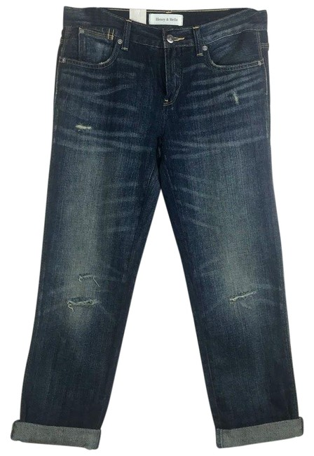 Item - Blue Dark Rinse Relaxed Skinny Capri/Cropped Jeans Size 26 (2, XS)