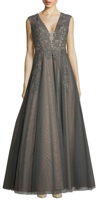 Item - Gray/Sand Embroidered Illusion Evening Gown Long Formal Dress Size 8 (M)