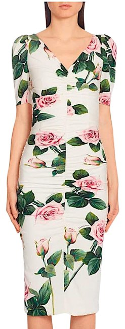 Item - Multi with Tag Rose Print Ruched Sheath Mid-length Cocktail Dress Size 10 (M)