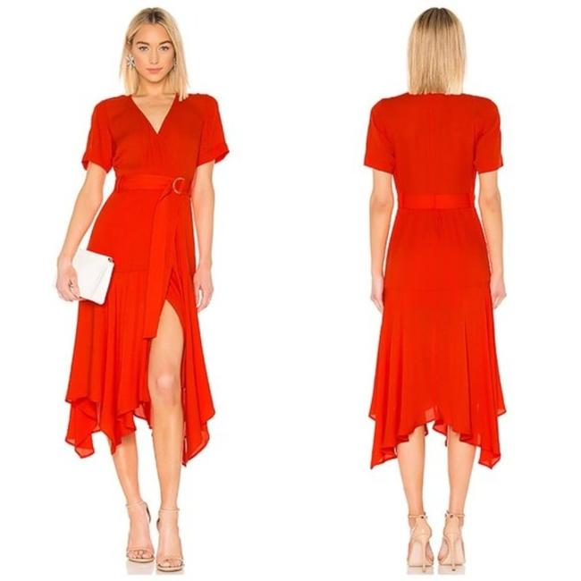 Item - Poppy (Dark Reddish Orange) Claire Belted Midi Mid-length Casual Maxi Dress Size 0 (XS)