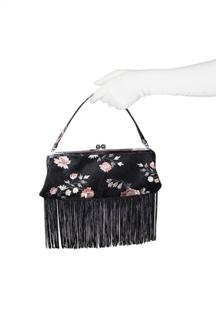 Item - W Evening Purse W/ Embroidery Fringe Black and Pink Silk Clutch