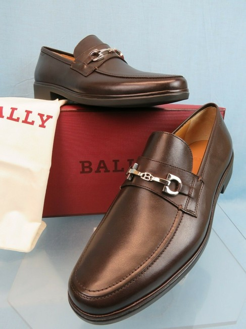 Item - Brown Cadore Chocolate Leather Silver Metal Bit Logo Loafers 10.5 D Us 43.5 Shoes