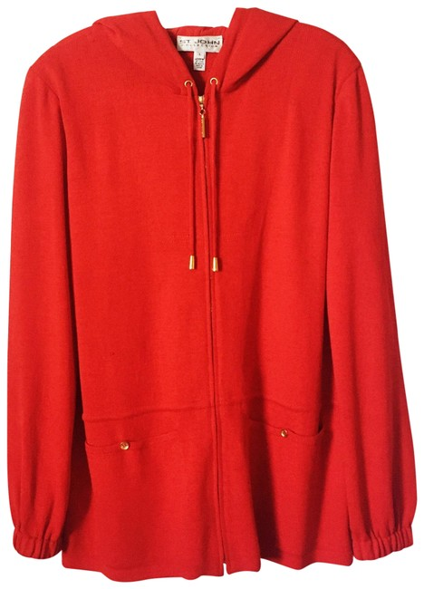 Item - Red Hooded Knit Zip Up Jacket Size 12 (L)