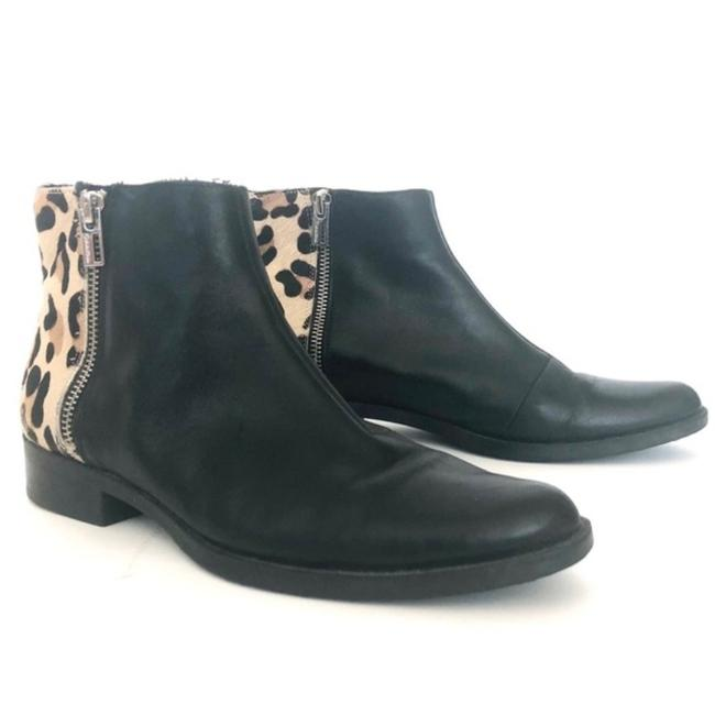 Item - Black Tan Thia Leather/Cow Hair Leopard Boots/Booties Size US 7.5 Regular (M, B)