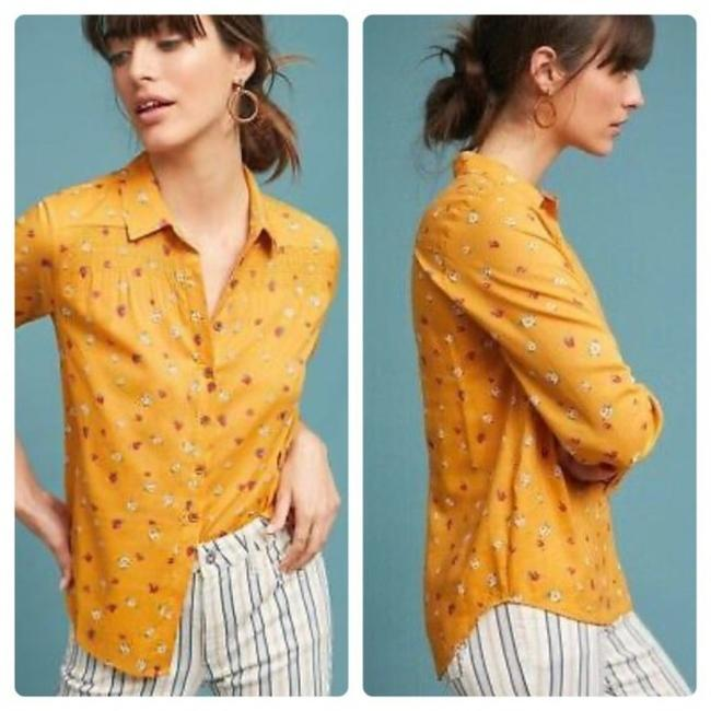 Item - Mustard / Gold Maeve Phyllis Yellow Floral Button-down Top Size 4 (S)